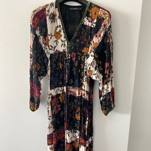 Zara printed dolman sleeve boho midi dress size xs